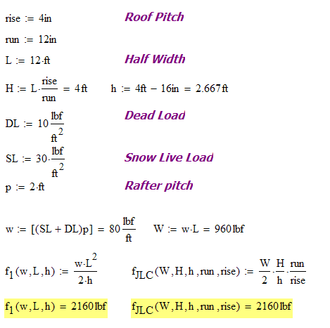 Figure 5: JLC Example in Mathcad.