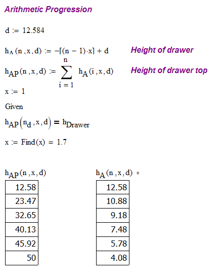 Figure 3: Computation of the arithmetic progression drawer heights.