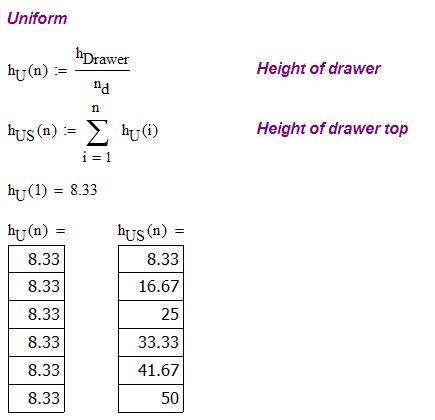 Figure 2: Computation of the Uniform Progression Drawer Heights.