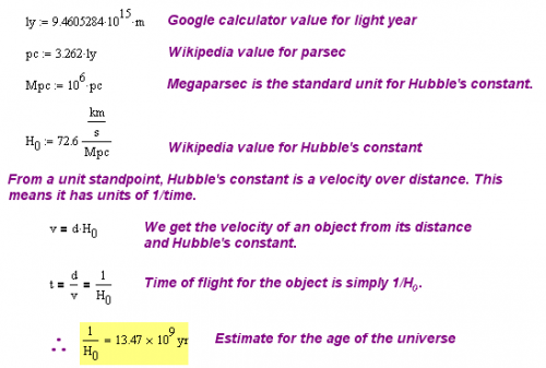 Figure 2: Calculation of the Age of the Universe.