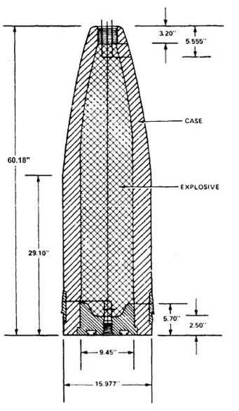Figure 6: Dimensioned Drawing of HC Mk 13 Projectile (No Fuze).