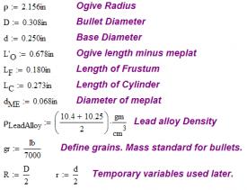 Figure 11: Variable Definitions for 155 grain Sierra Bullet Example.