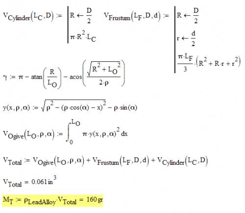 Figure 14: Sierra 155 Grain Mass Calculation.