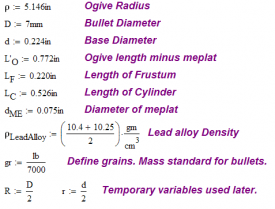 Figure 16: Definitions for JLK 180 Grain Bullet.