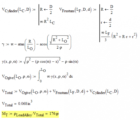 Figure 18: Mass Calculation for JLK Bullet.