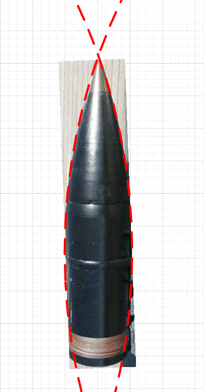 Figure 7: 9 Caliber Radii Circles Fitted Manually to a Projectile Photo.