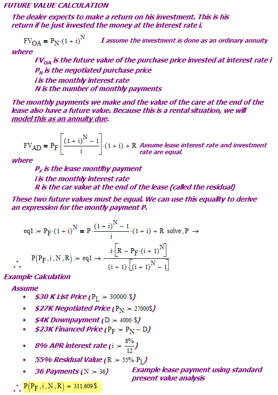 Figure 1: Derivation of Lease Payment Formula From Future Value Standpoint.