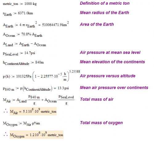 Figure 3: Calculating the Mass of Oxygen in the Atmosphere.
