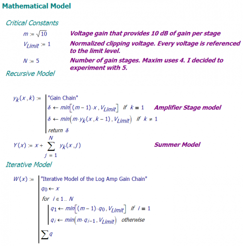 Figure 5: Iterative and Recursive Log Amp Models in Mathcad.
