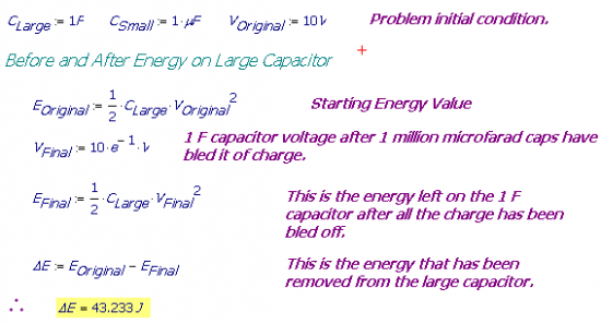 Figure 1: Energy on the 1 F capacitor before and after one million microfarad capacitors were attached.