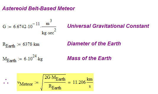 Figure 1: Illustration of Velocity for a Meteor Originating in the Asteroid Belt.