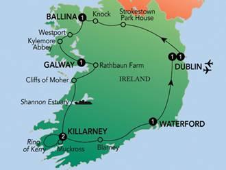 Figure 1: Our Bus Ride Around Ireland.