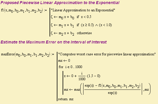 Figure 2: Linear Approximation Prototype and My Error Function.