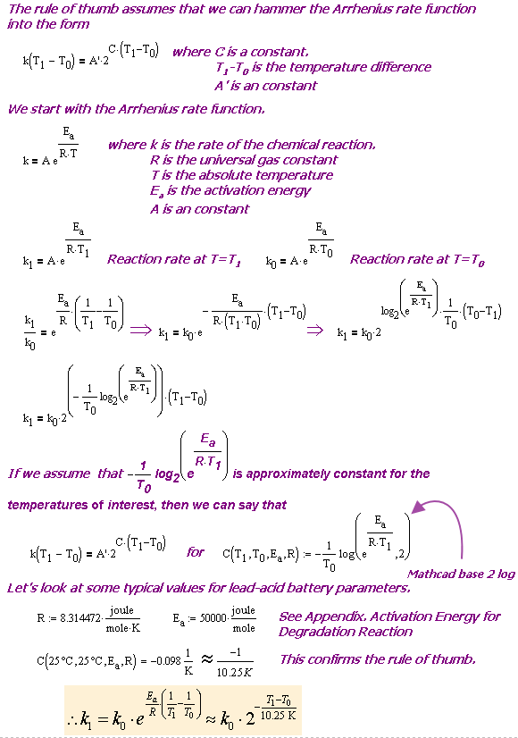 Figure 2: Derivation Showing Approximate Equivalence of Rule of Thumb and Arrhenius Equation.