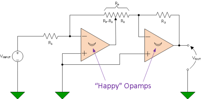 Figure 1: Schematic for a Circuit with Logarithmic Voltage Output.