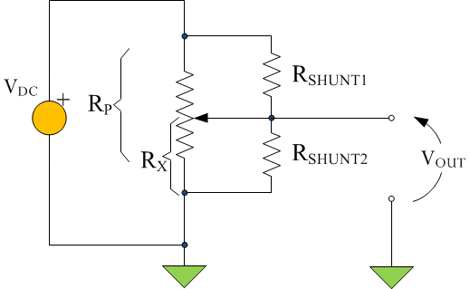 Figure 2: Logarithmic Approximation Using Two Resistors Connected to the Wiper.