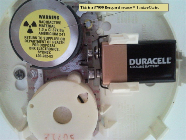 Figure 1: Wikipedia Photograph of the Radiation Source within a Smoke Detector.
