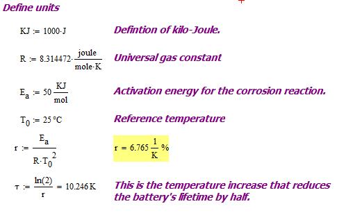 Figure 1: Temperature Increase that Halves Battery Lifetime.