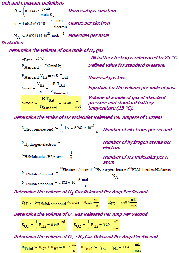 Figure 6: Derivation of IEEE 950 Value for H2 Gas Generation Per Amp of Current.
