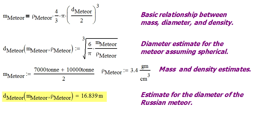 Figure 3: Calculations for the Meteor Diameter.