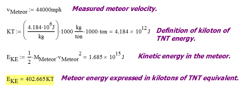 Figure 4: Calculations for the Kinetic Energy of the Meteor.