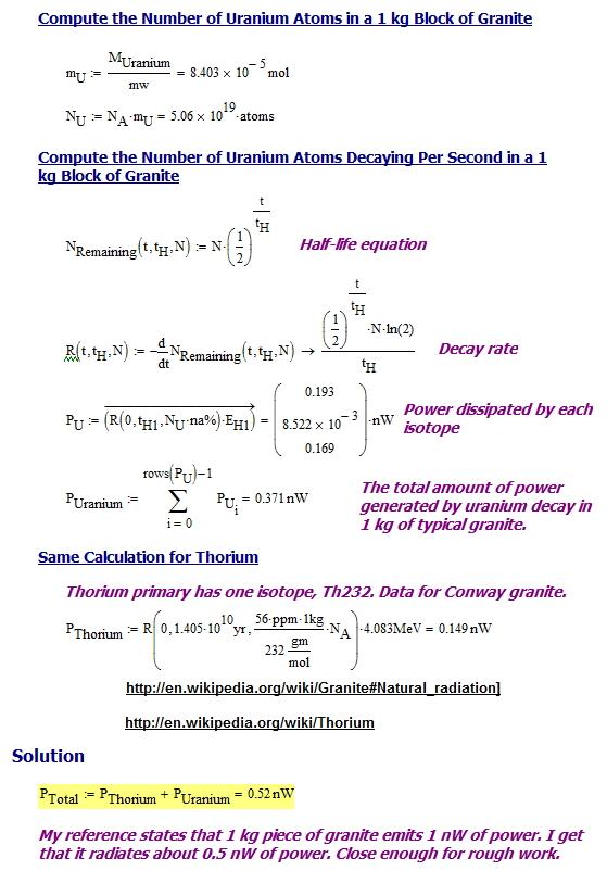 Figure 2: Granite Self-Heating Calculations.