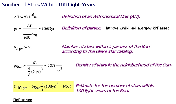 Figure 1: Estimate for the Number of Stars Within 100 Light-Years of the Sun.