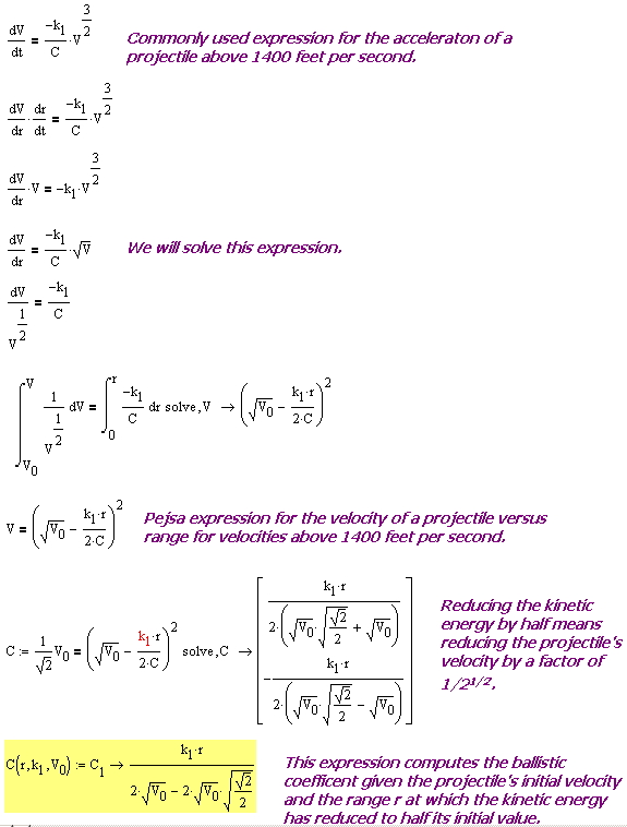 Figure 1: Derivation of an Expression for the Ballistic Coefficient.