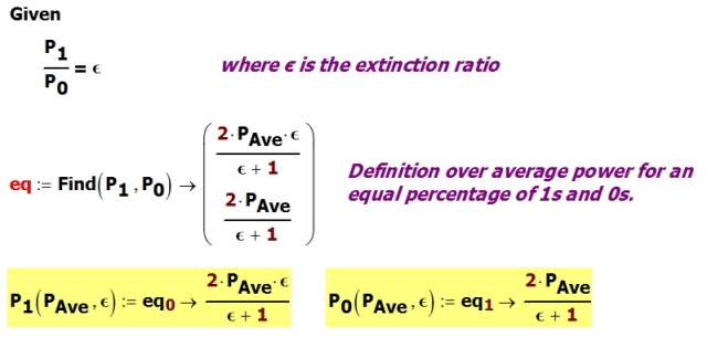 Figure 2: Deriving Equations for P1 and P2 in Terms of Extinction Ratio and Average Power.