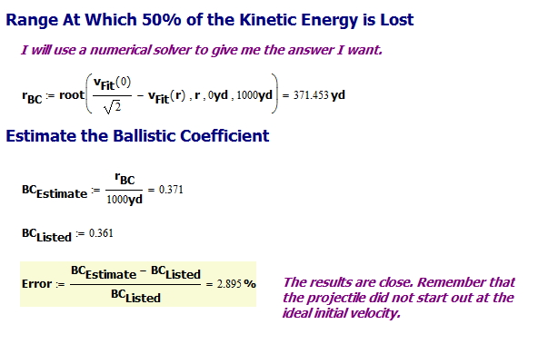 "Figure 2: ""Rule of Thumb"" Ballistic Coefficient Determination Example."