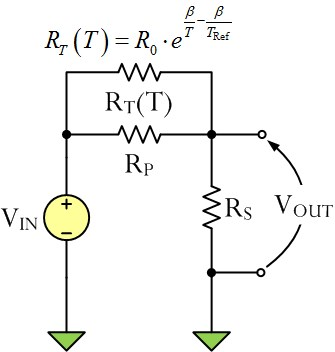Figure 2: Two-Resistor Thermistor Linearizer.