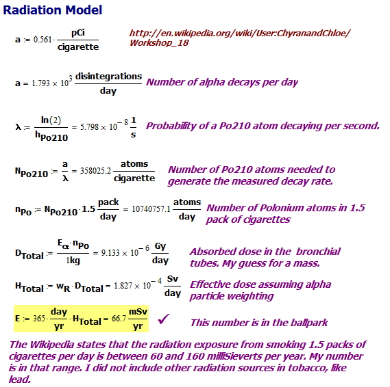 Figure 5: Radiation Calculations for 1.5 Pack a Day Smoker.