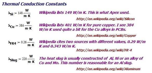 Figure 4: Key Thermal Constants.