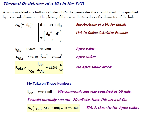 Figure 9: Formula for the Thermal Resistance of a Via.