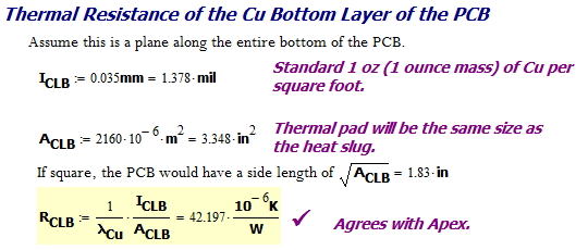 Figure 10: Thermal Resistance of the Bottom Copper Layer on the PCB.