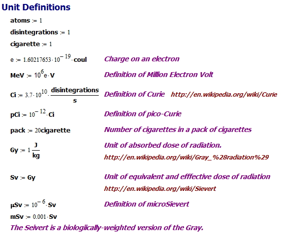 Figure 2: Units Defined for My Analysis.