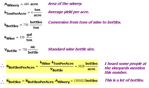 Figure 3: Per Acre and Total WIne Bottle Production Estimate.