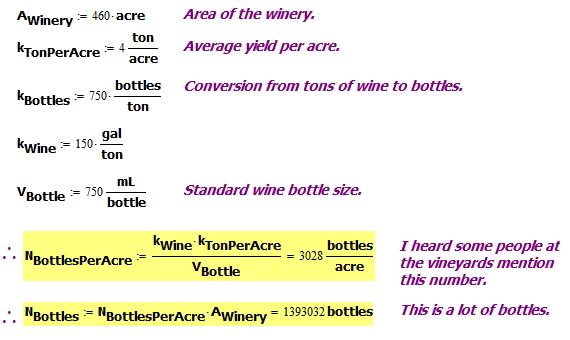 Figure 3: Per Acre and Total WIne Bottle Production Estimate.
