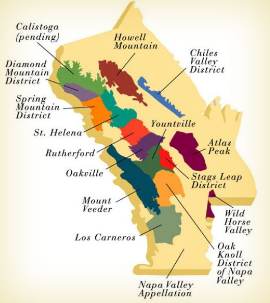 Figure Y:: Different Wine Growing Regions in the Napa Valley.