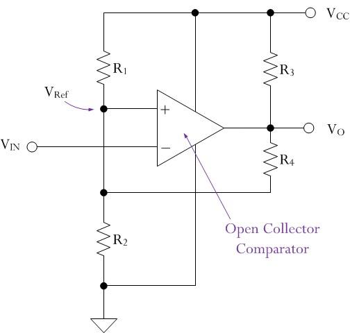 Figure 3: Schmitt Trigger Circuit Using Open Collector Comparator.