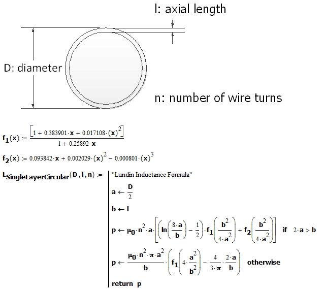 Figure 3: Mathcad Implementation of Lundin's Inductance Formula.