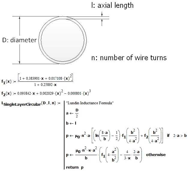 Figure 3: Mathcad Implementation of Lundin's Inductance Formula.