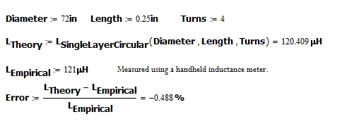 Figure 4: My Empirical Check of the Loop Inductance.