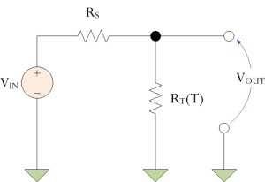 Figure 1: Thermistor Circuit with Decreasing Voltage Versus Temperature Characteristic.