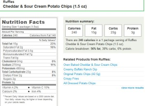 Figure 2: Nutrition Label for Ruffles Cheddar and Sour Cream Potato Chips (1.5 oz).