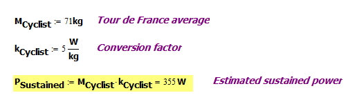 Figure 2: Cyclist Power Calculations.