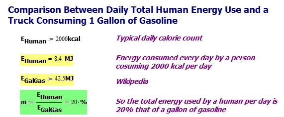 Figure 2: Total Daily Human Energy Use About 20% That of Gallon of Gasoline.