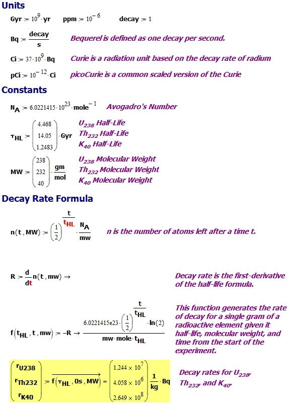 Figure M: Basic Radioactive Materials Math.